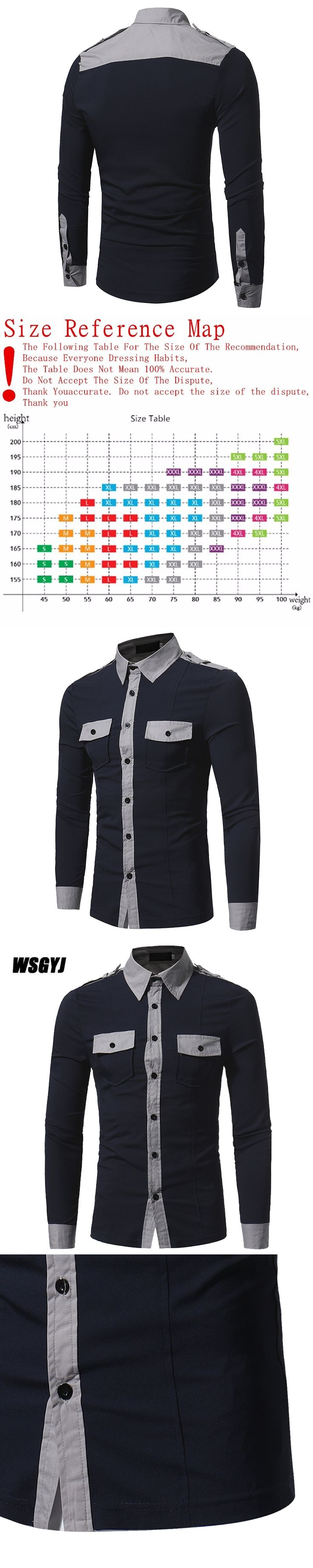 Camisa Social Masculina 2017 Fashion Brand Men'S Double Pocket Badges Male Long-Sleeved Shirt Casual Slim Camisa Social M-XXXL