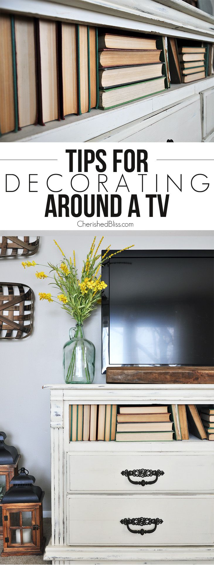 With these simple tips and tricks you will learn how to easily decorate around a tv to give your living room the look you desire! @cherished