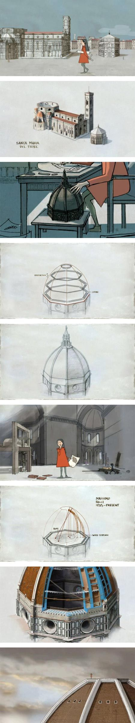"""Il Duomo: Daring Design is a short animation by Fernando Baptista. It serves as a brief introduction to the marvel of architecture, engineering and design that is Filippo Brunelleschi's dome for the cathedral of Santa Maria del Fiore in Florence."""