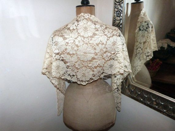 Antique French ecru lace mantilla mantille veil with a gorgeous floral design and scaloped borders  Early 1900s  A very elegant piece!  From