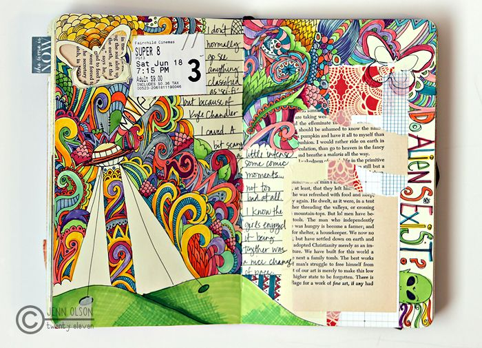 jenn olson: Slam Book, Doodles Art, Open Book, Journals Idea, Art Journals, Journals Pages, Color And Lighting, Awesome Idea, Cheap Date Idea