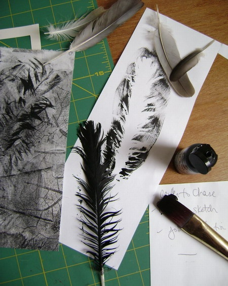 feather mono prints. Inked over the top of objects.