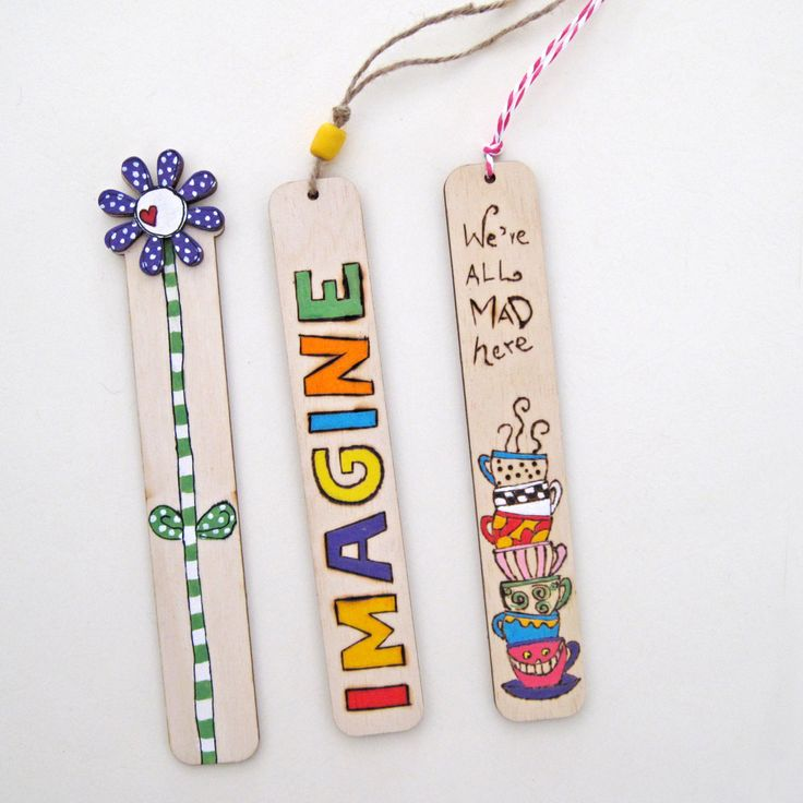 Bookmarks, wood burned bookmarks, set of 3 bookmarks,  unique gift for book lovers by DreamBigHandmade on Etsy