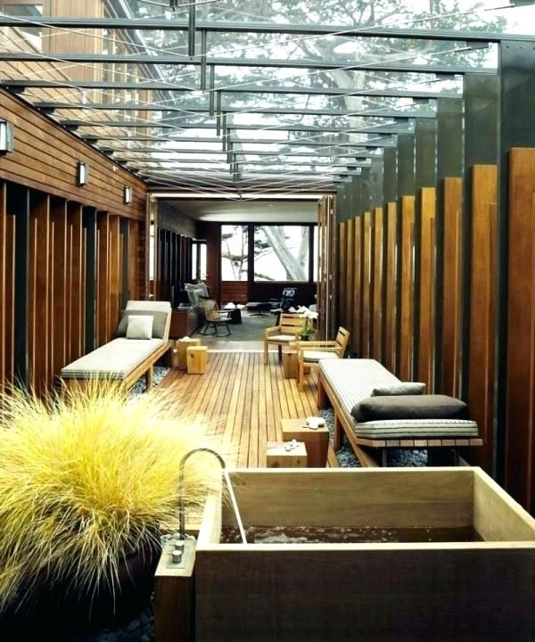 Glass Roof House Contemporary Wooden House Elements And Courtyard