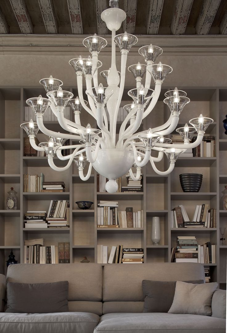living room with a Murano chandelier