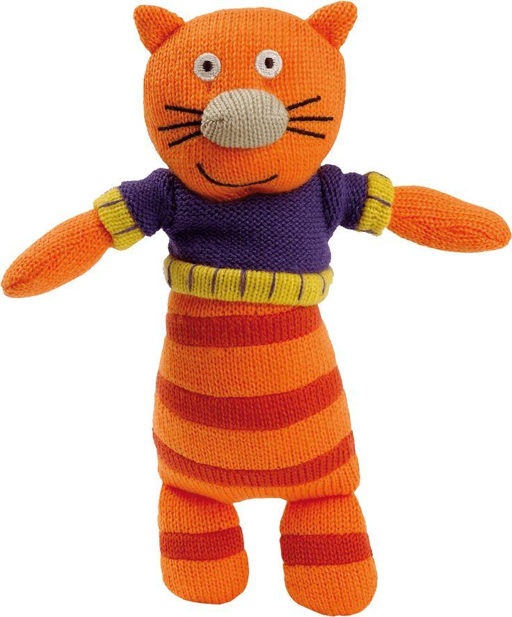 Sacha le chat des personnages de la Wooly Family par Latitude Enfant. Jouet ludique. Doudou d'éveil. Produit de puériculture.