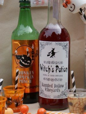 in love with these halloween labels they are perfect to transform your drinks into halloween potions and work perfectly for adult or childrens parties - Adult Halloween Decorations