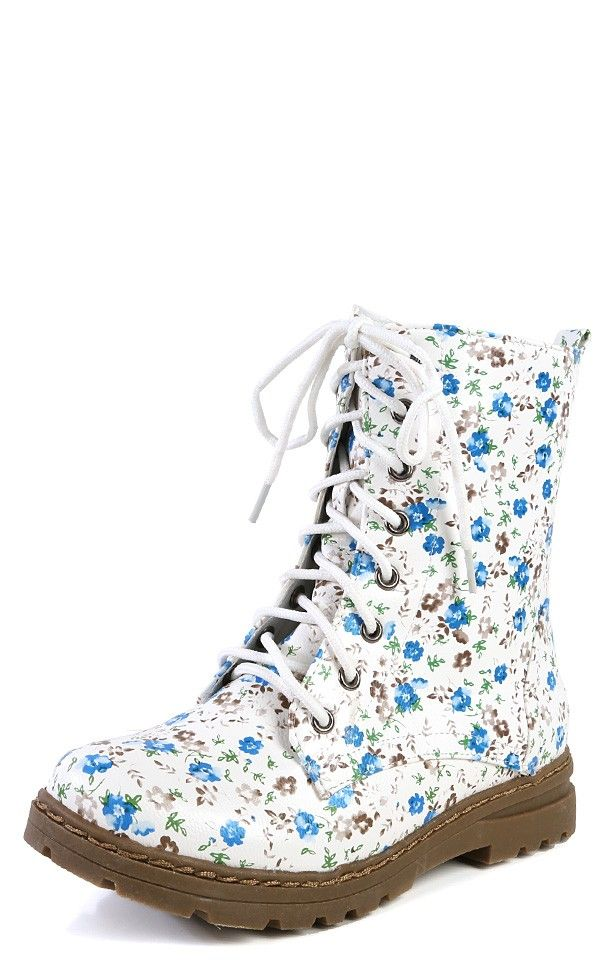 Nature Breeze Gwen-02hi Lace Up Vintage Floral Combat Boots BLUE FLORAL