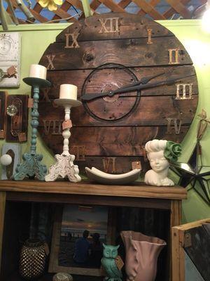 Large Rustic Spool Clock Handmade