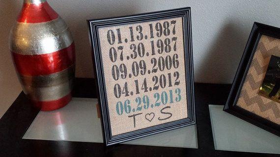 Framed Burlap Print - Custom Important Date Frame - Wedding - Anniversary - Customizable - Dates - Family - 8x10, $25.00 #dates #importantdates #burlap #frame #print #initials #couple