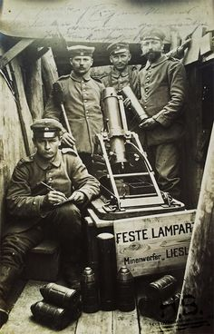 WWI, German soldiers with a mortar. -David Doughty (@DavidWDoughty)   Twitter
