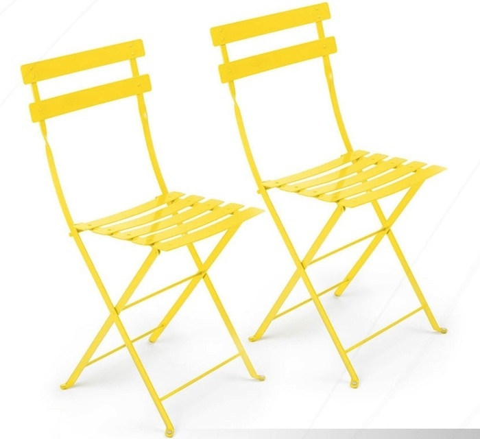 YELLOW METAL CAFE FOLDING CHAIR    Product #: CHA-007-YEL  Dimensions: 14 3/4'' SQ x 32 1/2 H''; Seat 15''SQ x 18''H  Pieces Avail: 8