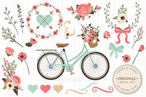 Mint & Coral Floral Bicycle + Extras - Illustrations