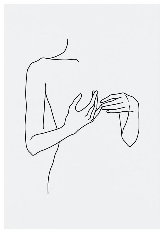 sketch #46 LINE ART PRINT minimalist line art woman body lines interior design minimal decor home artwork A4 limited – Annamustermann