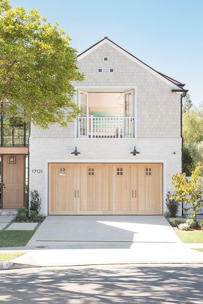 Modern Farmhouse Exterior Ideas Custom Rift Oak Garage Door With Painted Brick Siding White Beach House Interior California Beach House Beach House Exterior