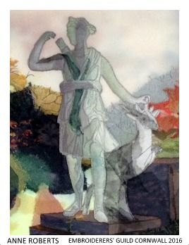 """""""Artemis"""" by Anne Richards, Cornwall branch of Embroiderers' Guild. Part of the """"Landscapes and Gardens"""" exhibition at Mount Edgcumbe 27 March - 29 September 2016 showing work based on the landscape and gardens. Exhibition held as part of the UK's Capability Brown Festival"""