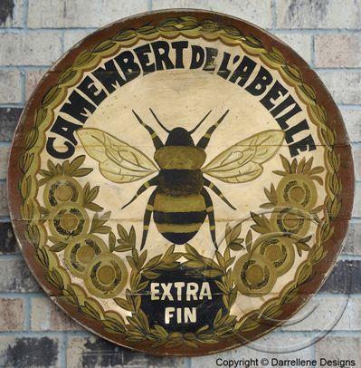 round bee cheese label - hand drawn