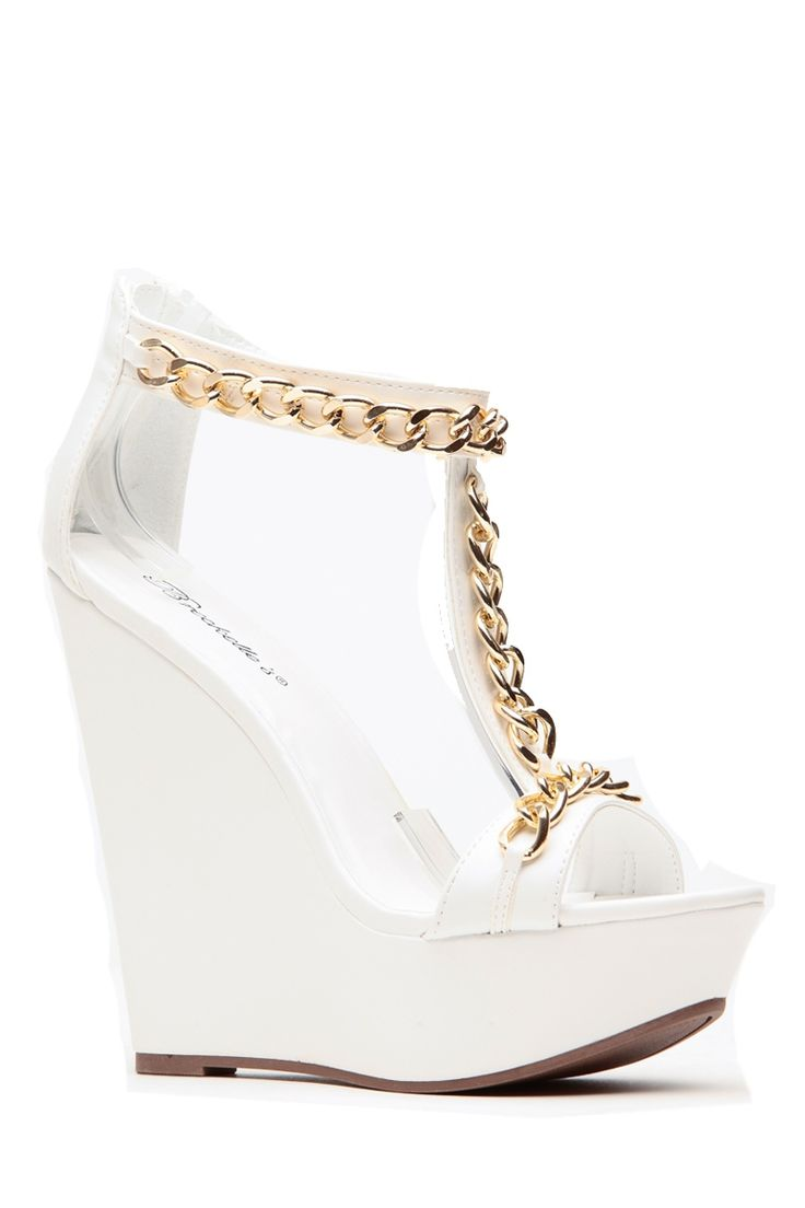 Gold Chain White Wedges @ Cicihot Wedges Shoes Store:Wedge Shoes