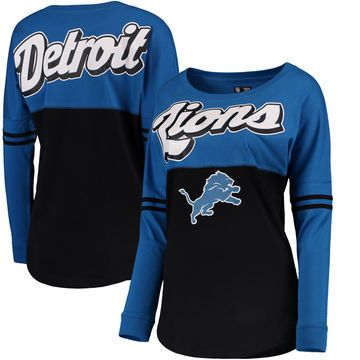Detroit Lions 5th & Ocean by New Era Women's Athletic Varsity Long Sleeve T-Shirt - Blue/Black