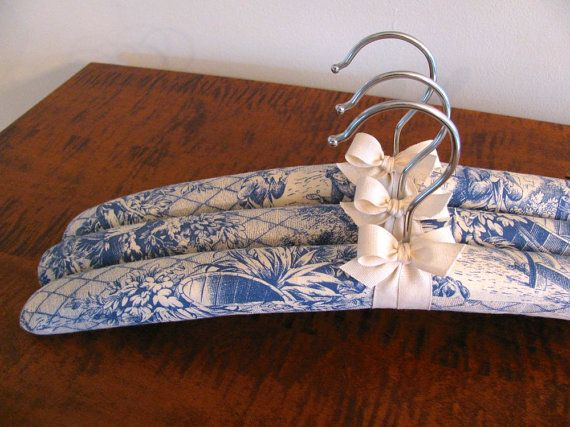 $30 - Padded Hangers Blue Toile Padded Hangers and Natural by ootch