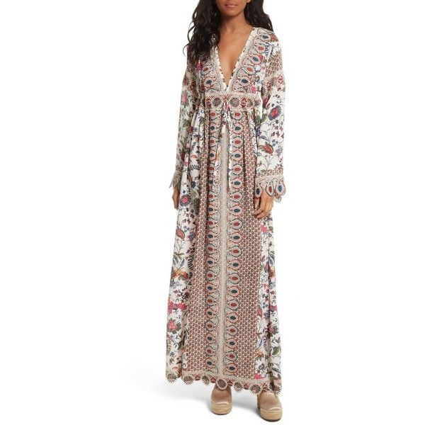 Women's Tory Burch Rosemary Lace Trim Silk Maxi Dress ($898) ❤ liked on Polyvore featuring dresses, silk caftan, retro dresses, brown maxi dress, tory burch caftan and kaftan maxi dress
