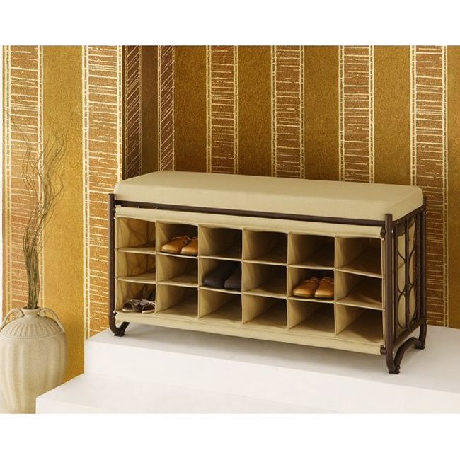 oilrubbed bronze steel cushion top shoe cubbies bench overstock shopping great deals on closet storage