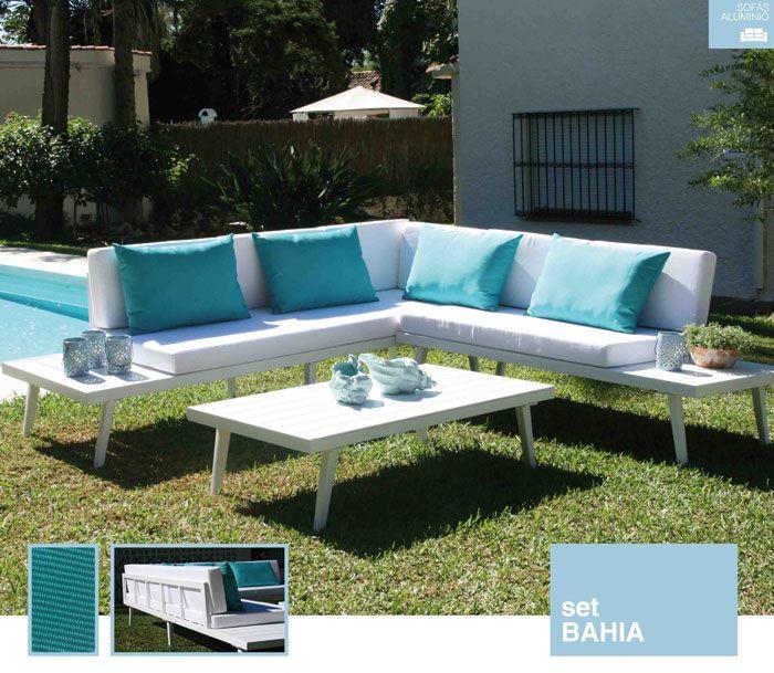 Conjunto Con Estructura De Aluminio En Color Blanco Cojines De Poliester Cojines Auxiliares En Color T Muebles Madrid Conjunto De Sofás Sillones Para Jardin