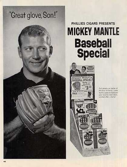 Phillies Cigars 2 Page Ad Mickey Mantle (1964)
