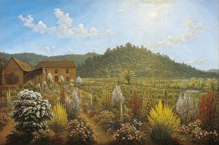A view of the artist's house and garden, in Mills Plains, Van Diemen's Land, 1835 by John Glover. Romanticism. landscape