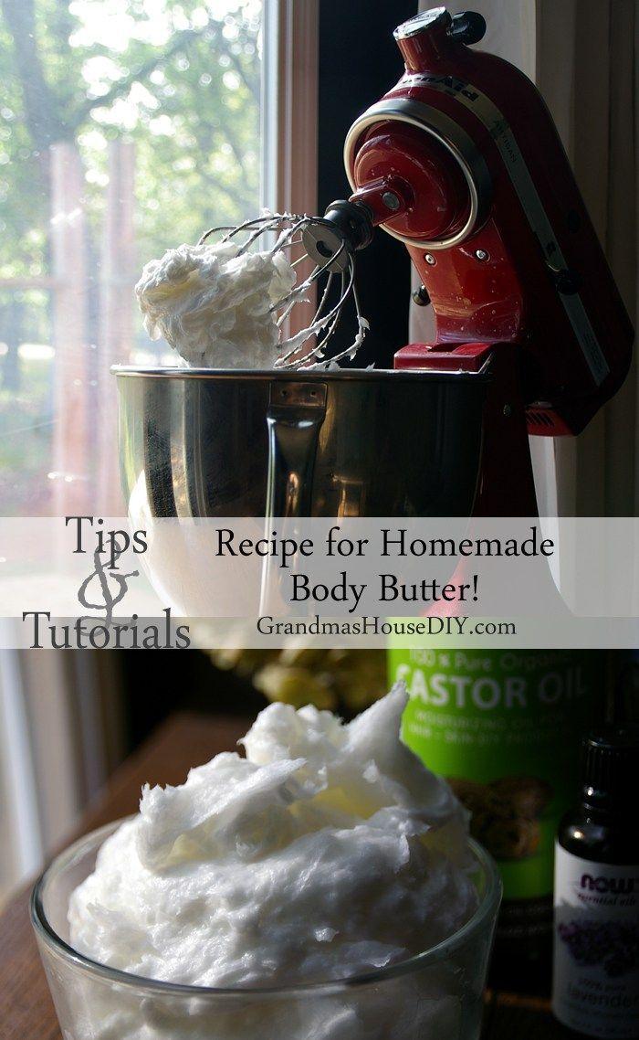 Homemade DIY recipe for body butter using lavender oil, organic coconut oil and organic castor oil - luxurious, moisturizing, fluffy, its like Heaven!