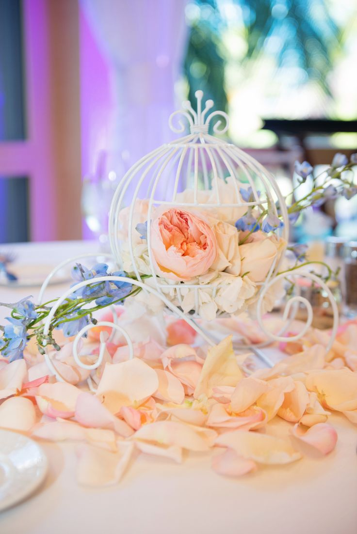 Cinderella Coach reception table decor at a Disneyland Wedding