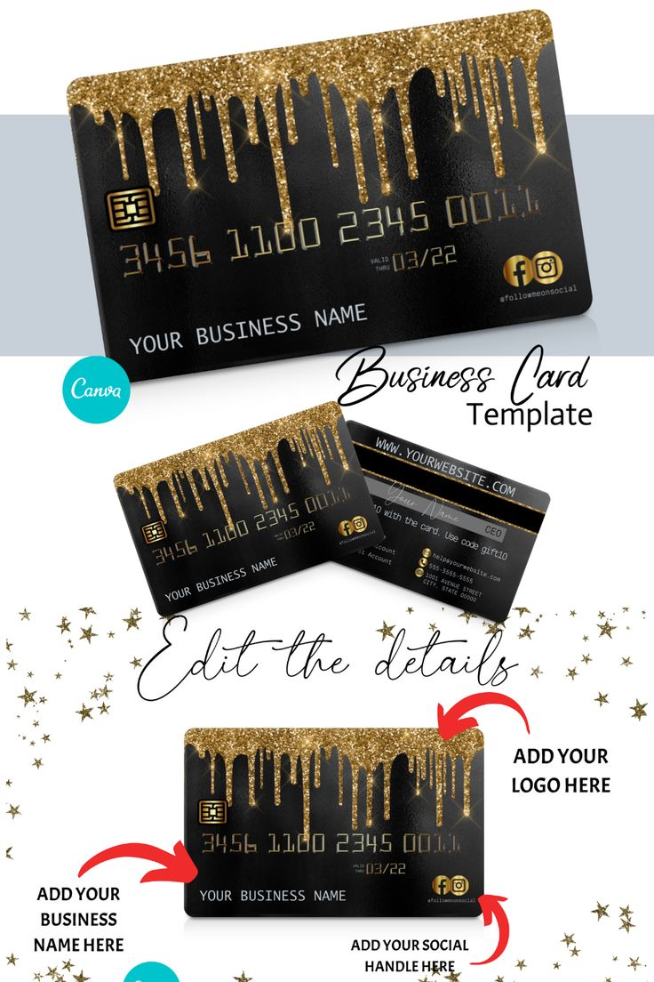 Diy gold glitter drip credit card business cards canva