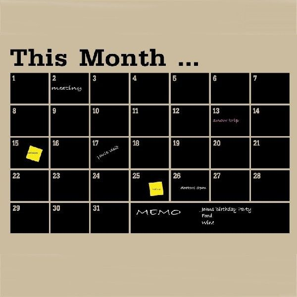 Monthly Blackboard Calendar Decal LARGE approx 1000x650mm