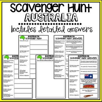 Australia Scavenger Hunt - Research Based