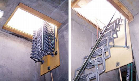 ladders to attic ideas | Reach for the attic: Aluminum ladder is stairway to unused space ...