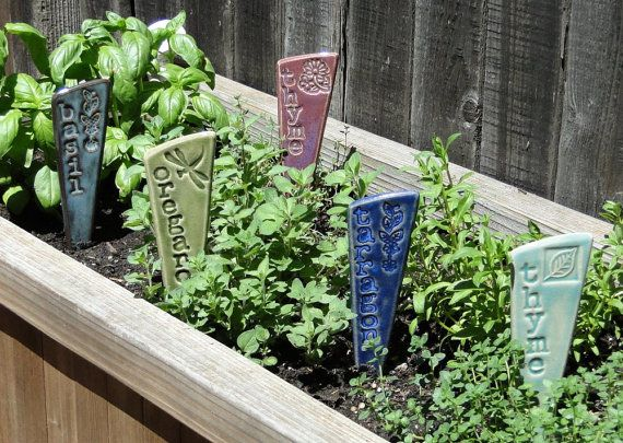 12 Plant Markers Herb & or Veggie Garden by fromArtisanHands