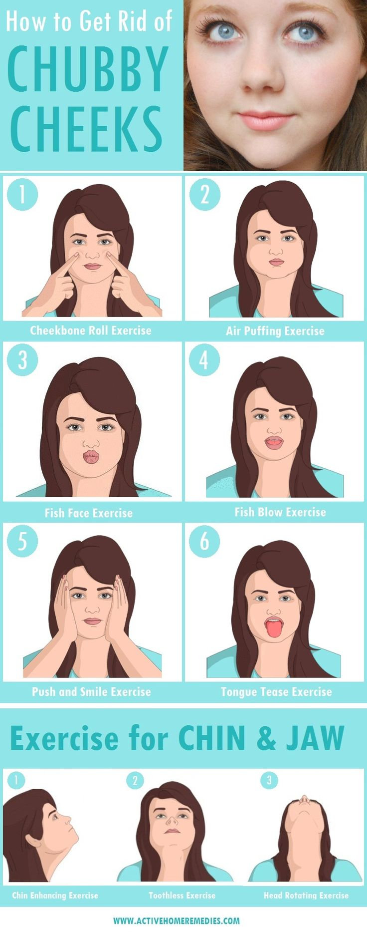 Facial exercises to reduce chubby cheeks