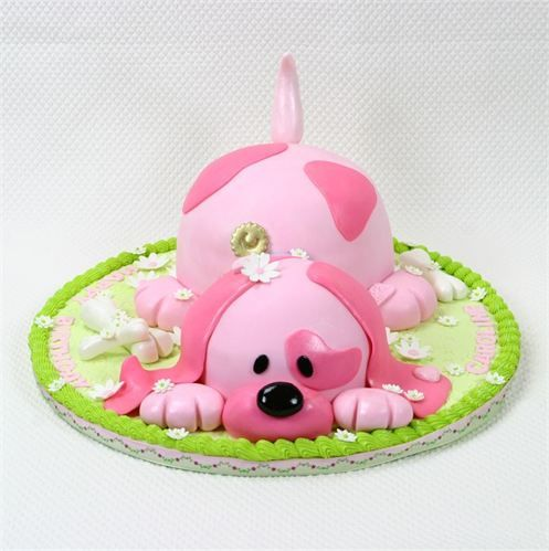I am soooo going to do this for isabellas birthday.....to cute.....Pink puppy dog cake for a sweet little girl.