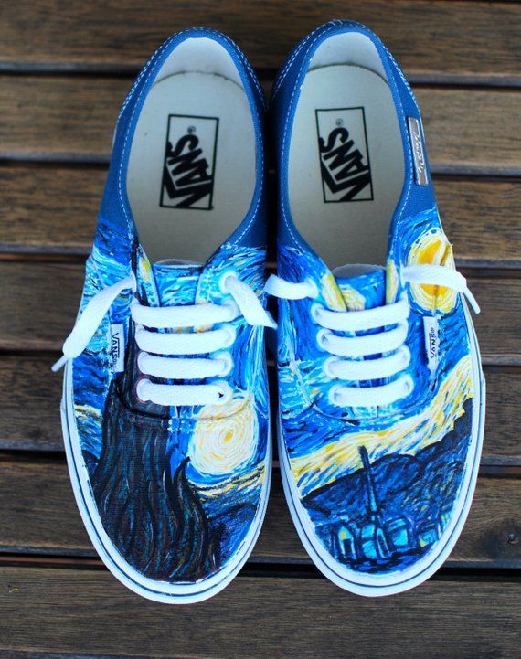 11c7a5dab6 Hand Painted Starry Night Navy Vans Authentic - Custom Vincent Van ...