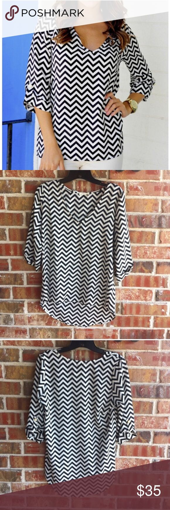NWT Everly chevron blouse, size small NWT Everly chevron blouse, size small. Polyester. Everly Tops Blouses