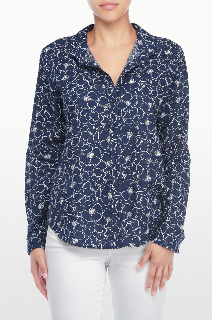 NYDJ's Printed long Sleeve button up shirt with a French Market Floral print. Pair this flattering silhouette with your favorite NYDJ's for a stylish everyday look.