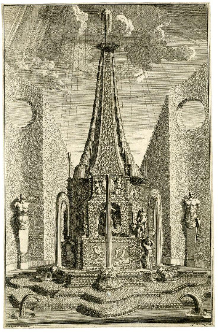 """View of a large cascading fountain in a garden, surrounded by hedges and statues; after Simon Schijnvoet; illustration to Schijnvoet's """"Voorbeelden der Lusthof-Cieraaden, Zynde Vaasen, Pedestallen, Orangie Bakken, Blompotten En Andere Bywerken etc."""" (Amsterdam: 1704)  Engraving"""