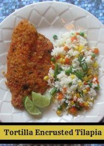 Tortilla Encrusted Tilapia. Yum! This looks like an interesting twist on a fish dish. :)
