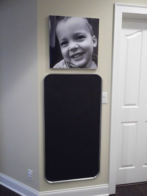Sunshine on the Inside: Oil Drip Pan Chalkboards!  -- I also like the contrast of leaving the border unfinished, though that would work better with paint.