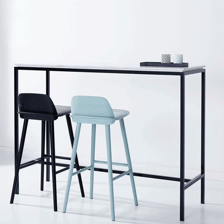 Modern Designer Marble High Bar Table   Italian Carrara/Black Steel Frame