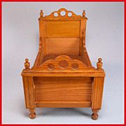"""Antique German Schneegas Dollhouse Twin Bed Late Victorian Large 1"""" Scale"""