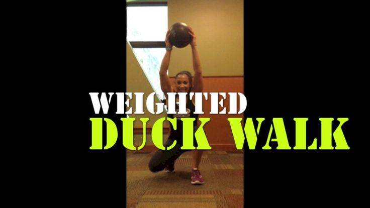 Weighted Duck Walk exercise. Total body workout. Fit quads and shoulders! Find more challenging exercise videos, personal training, and nutritional guidance at: http://meghancotton.wix.com/coachmeghanfitness