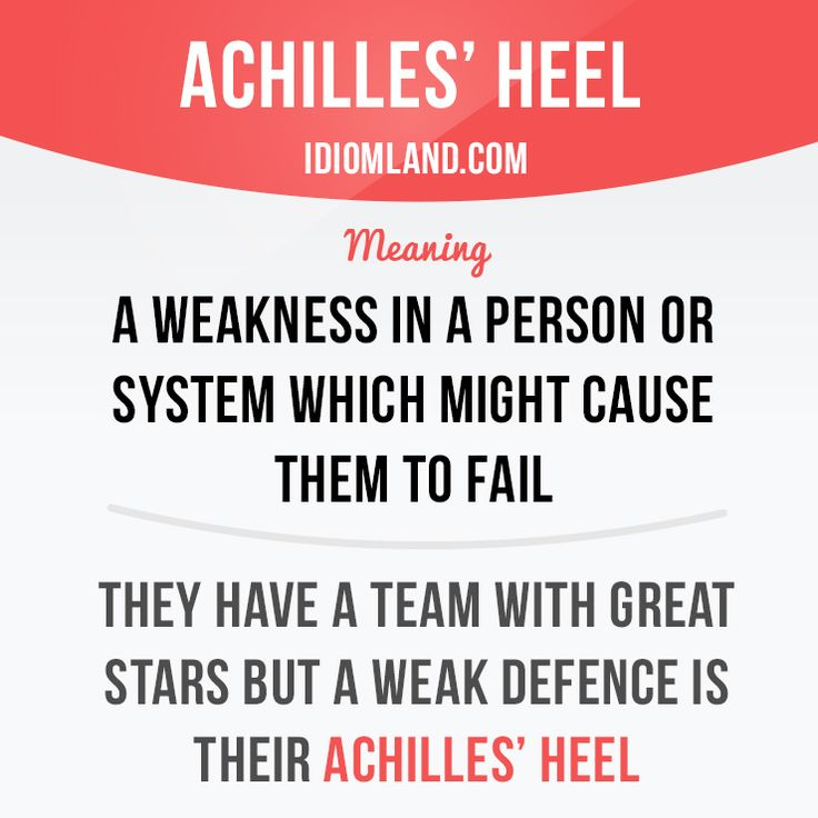 """""""Achilles' heel"""" is a weakness in a person or system which might cause them to…"""