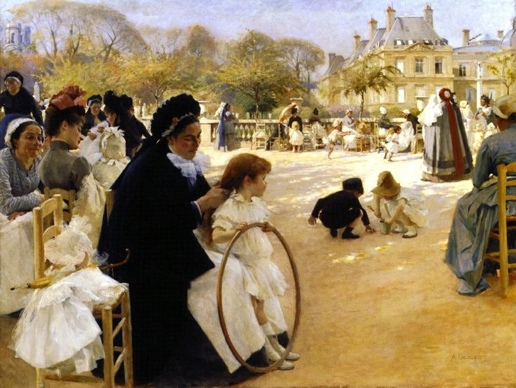 Tumblr-The Luxembourg Gardens, Paris by Albert Edelfelt 1887
