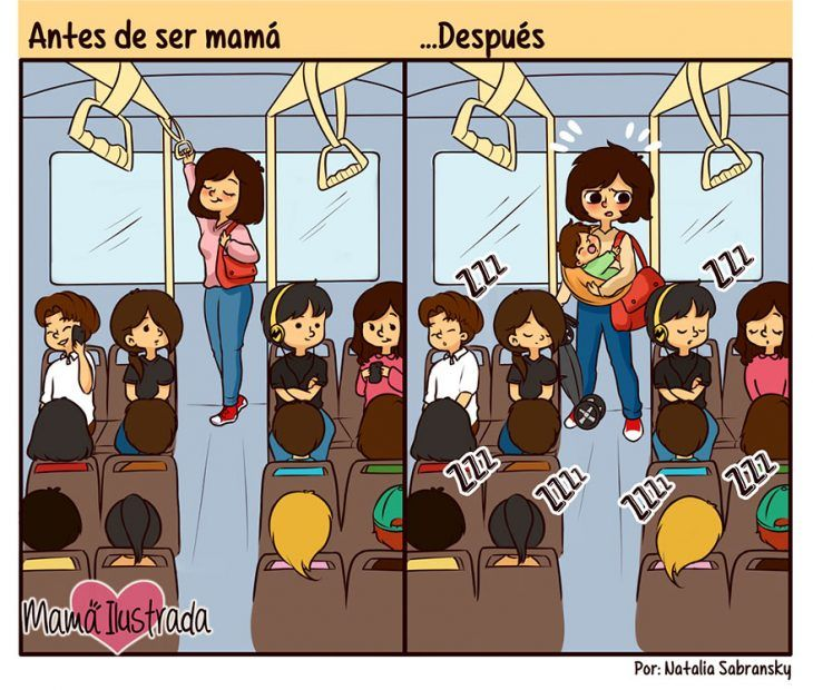 Ilustración de ser mamá antes y después